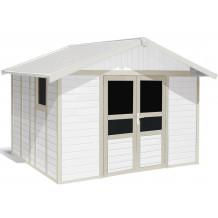 Abrigo de jardim Basic Home 11 m² Branco - Cinza verde