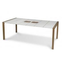 Mesa de jardim Sunday 190 cm madeira branca de tábua de cortar gelo