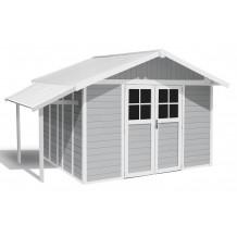 Abrigo de jardim Lodge 11 m² cinza claro
