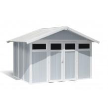 Abrigo de jardim Utility 7,5 m² cinzento - azul