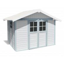 Abrigo de jardim Déco 7,5 m² branco - cinzento - azul