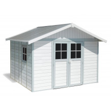 Abrigo de jardim Déco 11 m² Branco - cinzento - azul