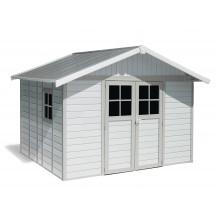 Abrigo de jardim Déco 11 m² branco - cinzento - verde